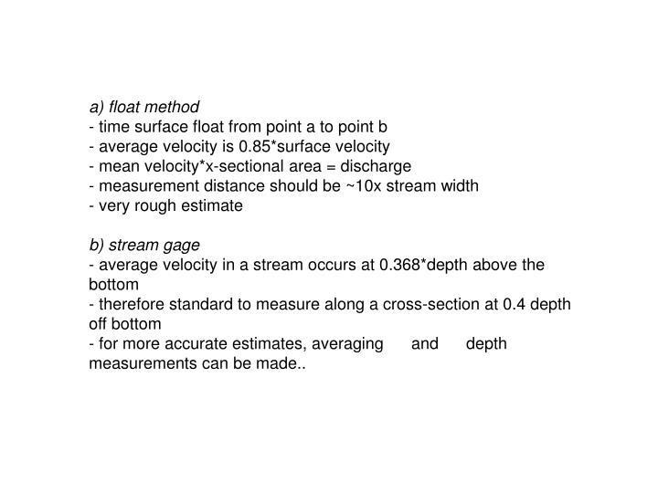 a) float method