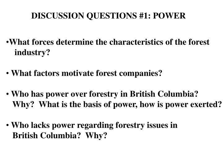 DISCUSSION QUESTIONS #1: POWER