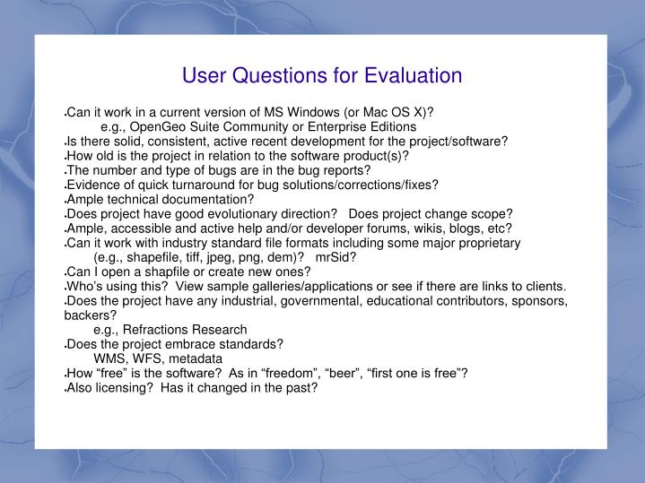 User Questions for Evaluation
