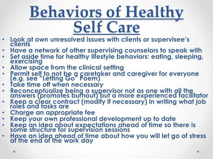Behaviors of Healthy Self