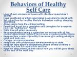 behaviors of healthy self care