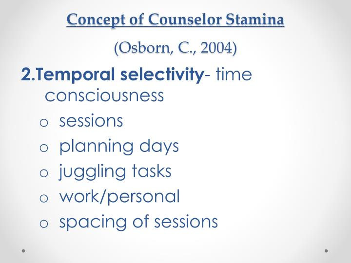 Concept of Counselor Stamina