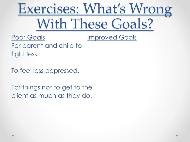 Exercises: What's Wrong With These Goals?