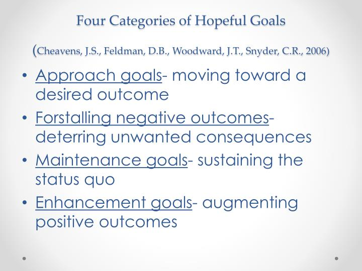 Four Categories of Hopeful Goals