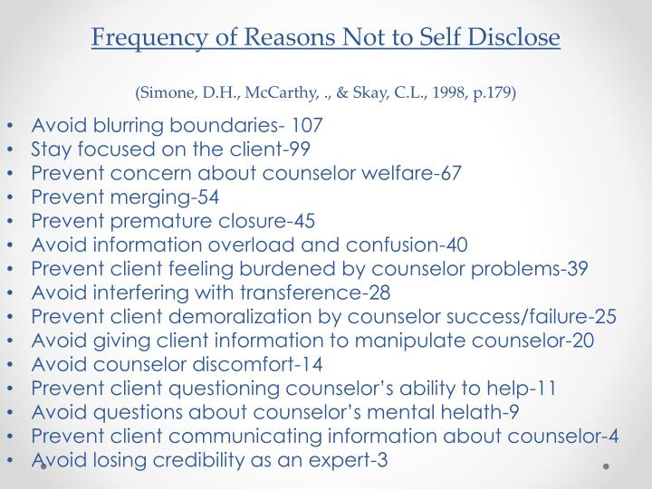 Frequency of Reasons Not to Self Disclose