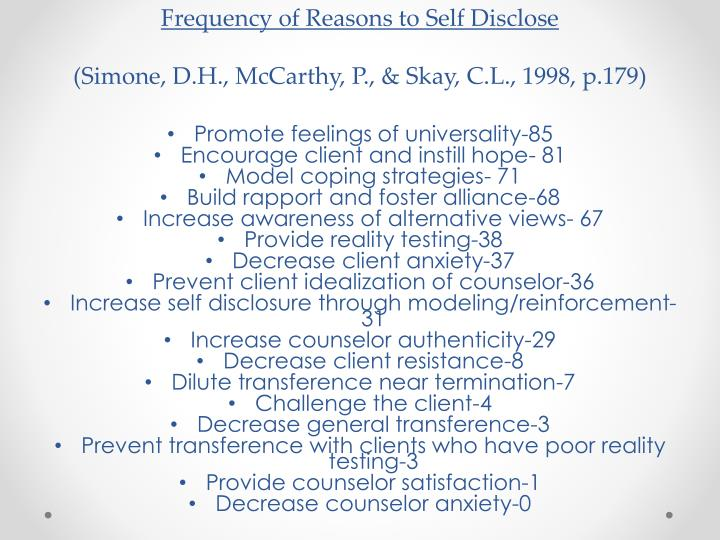 Frequency of Reasons to Self Disclose