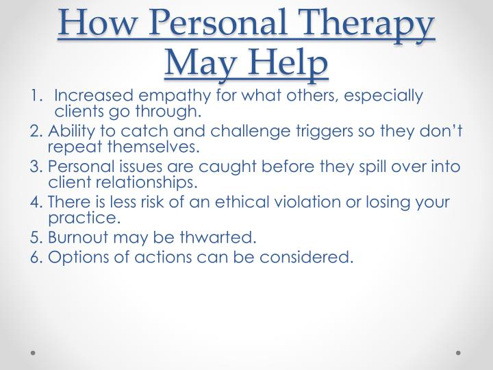 How Personal Therapy May