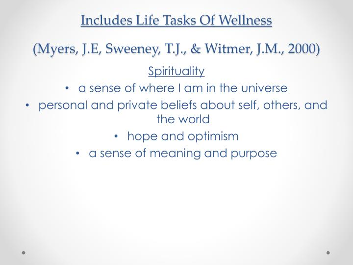 Includes Life Tasks Of Wellness