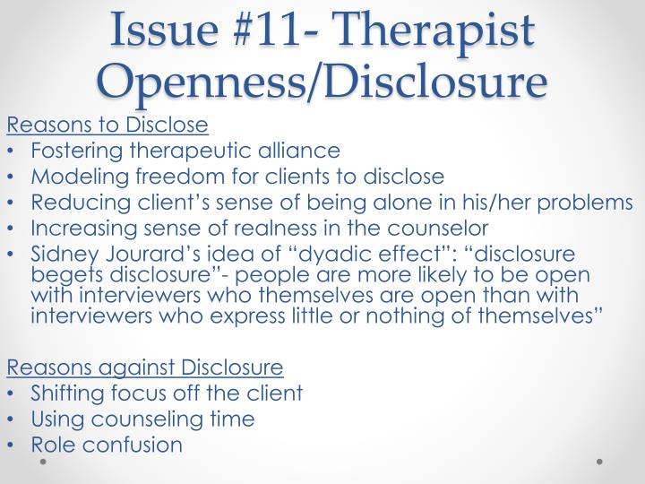 Issue #11- Therapist Openness/Disclosure