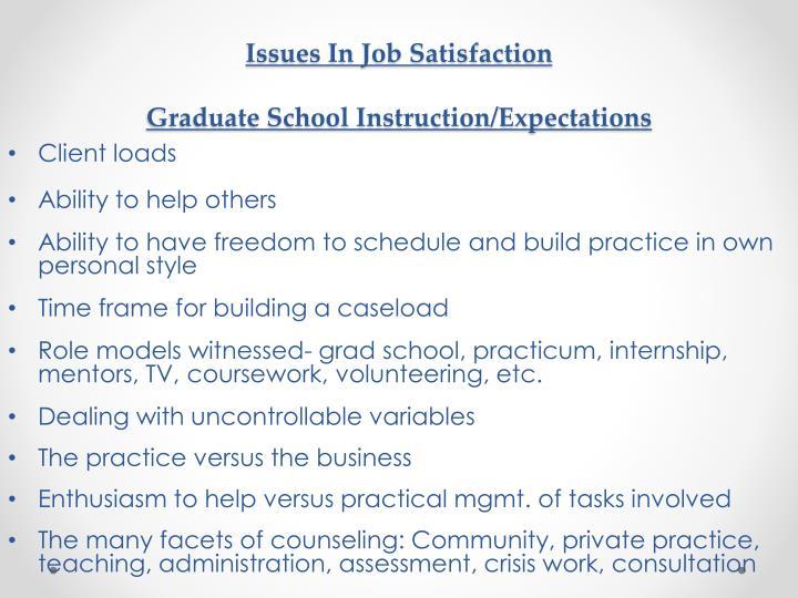 Issues In Job Satisfaction