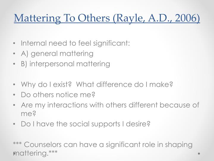 Mattering To Others (