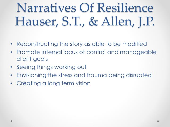 Narratives Of Resilience