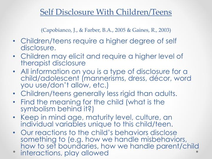 Self Disclosure With Children/Teens