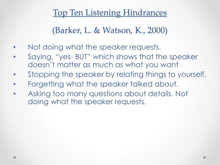 Top Ten Listening Hindrances