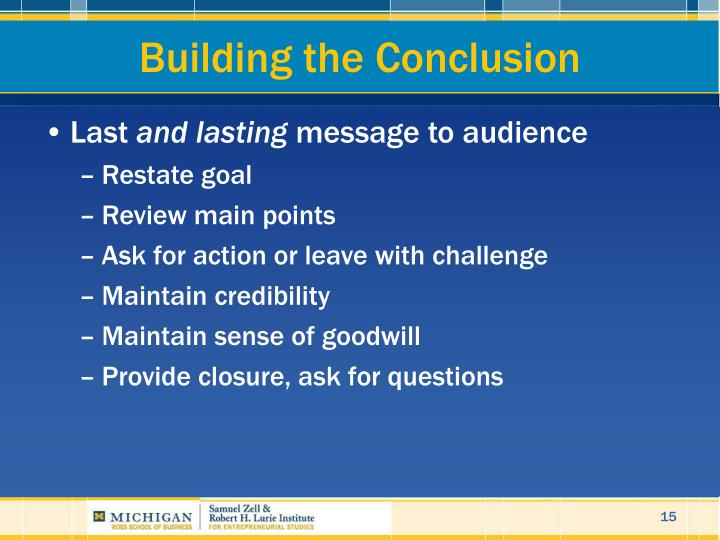 Building the Conclusion