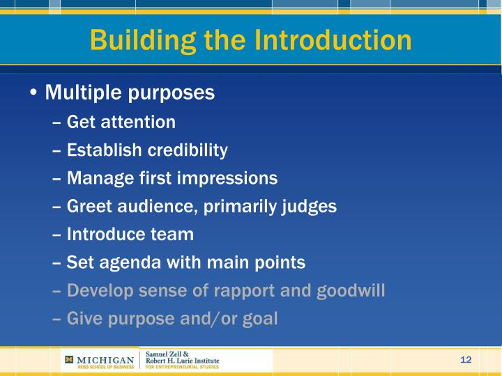 Building the Introduction