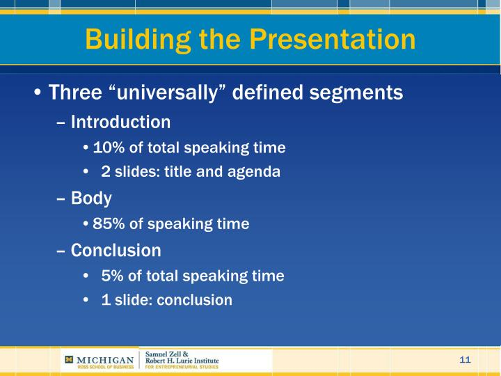 Building the Presentation