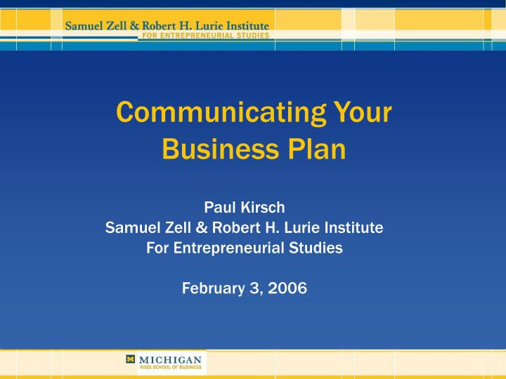 communicating your business plan