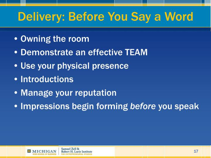 Delivery: Before You Say a Word