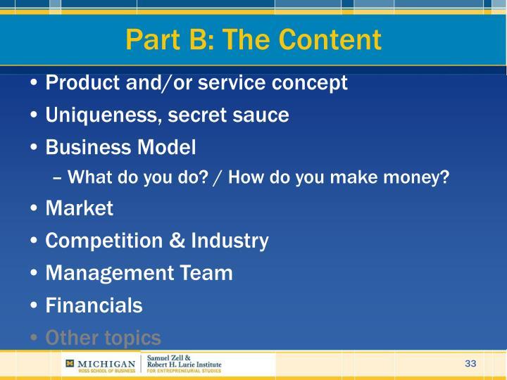 Part B: The Content