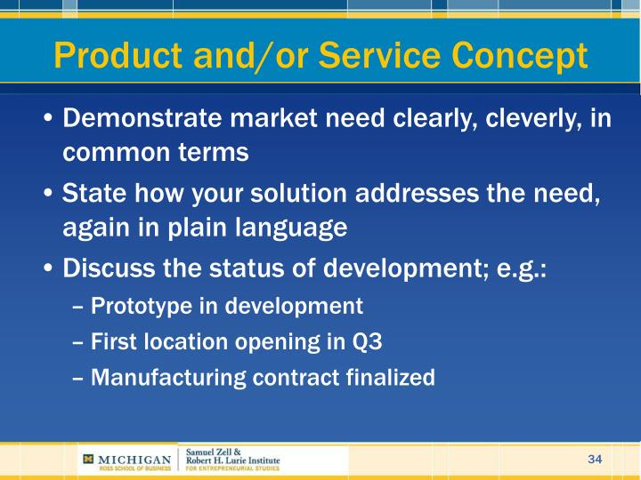 Product and/or Service Concept