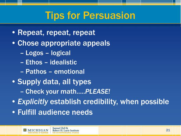 Tips for Persuasion