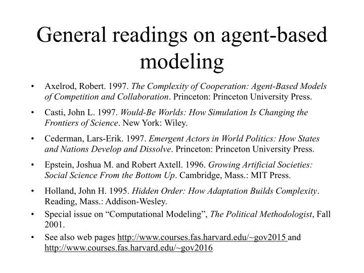 General readings on agent-based modeling