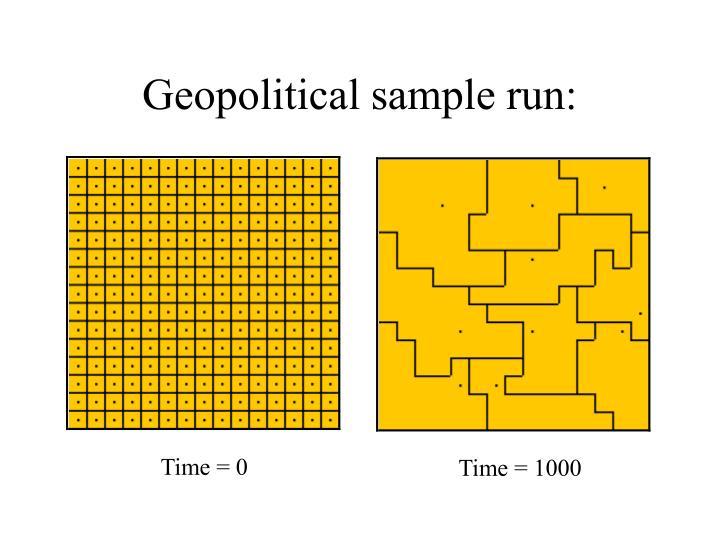 Geopolitical sample run: