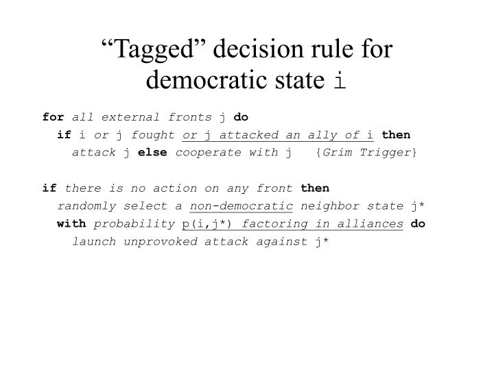 """""""Tagged"""" decision rule for democratic state"""