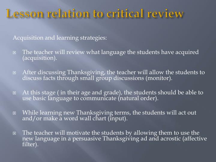 Lesson relation to critical review