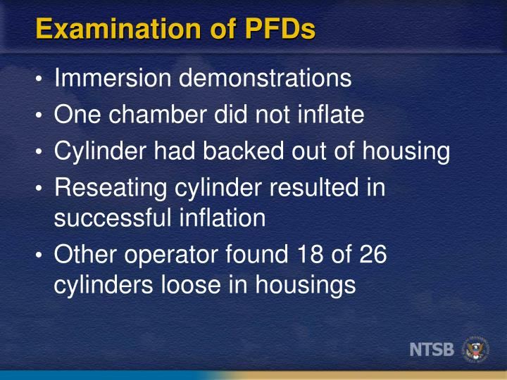 Examination of PFDs