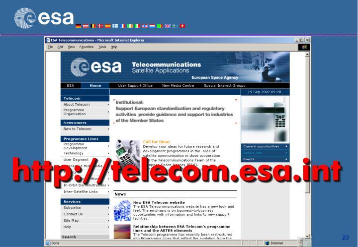 http://telecom.esa.int