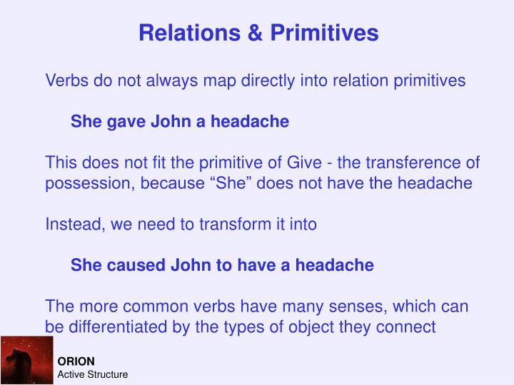Relations & Primitives