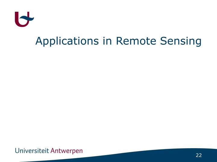 Applications in Remote Sensing