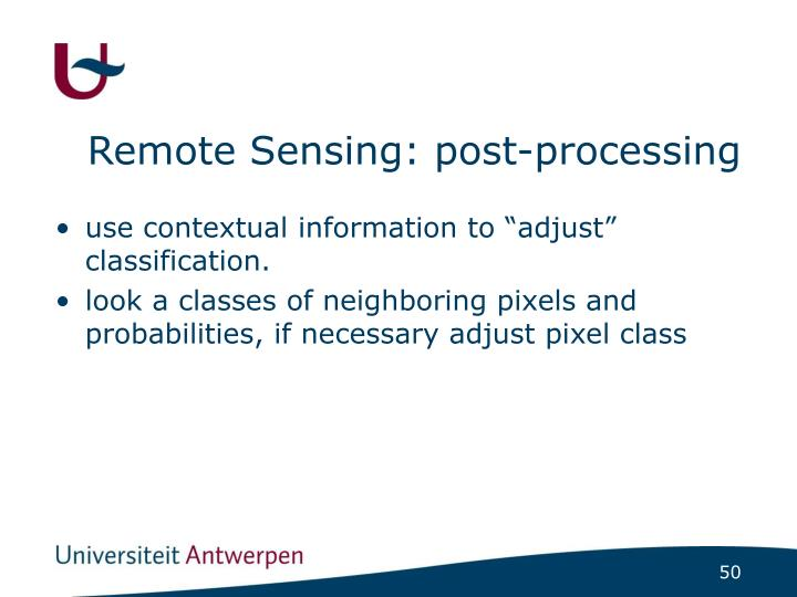 Remote Sensing: post-processing