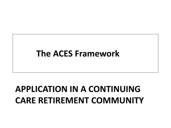 application in a continuing care retirement community