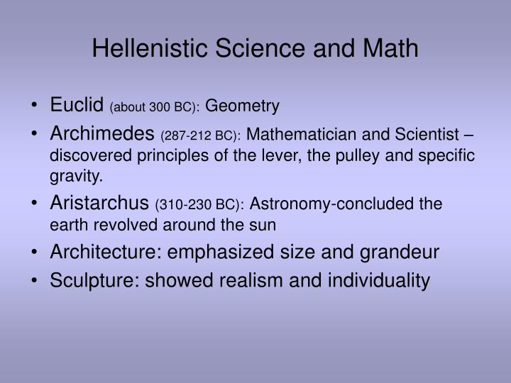 Hellenistic Science and Math