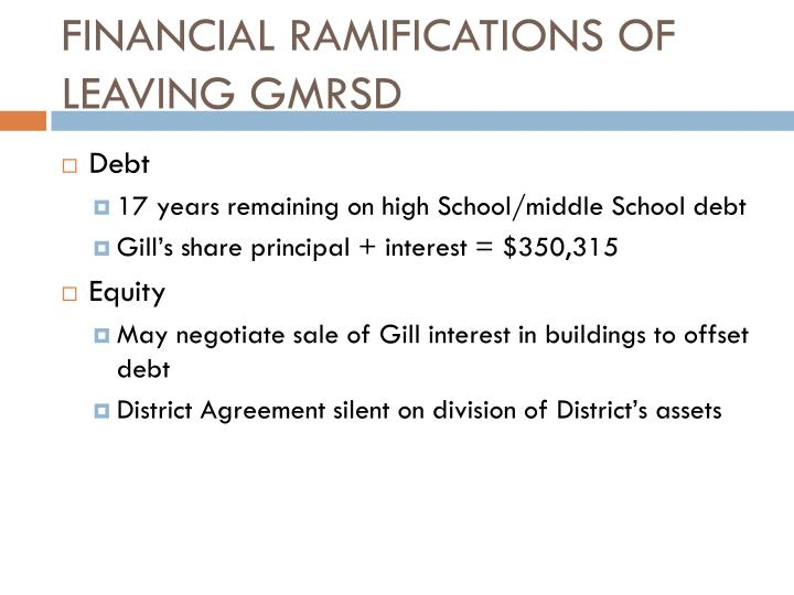 FINANCIAL RAMIFICATIONS OF LEAVING GMRSD