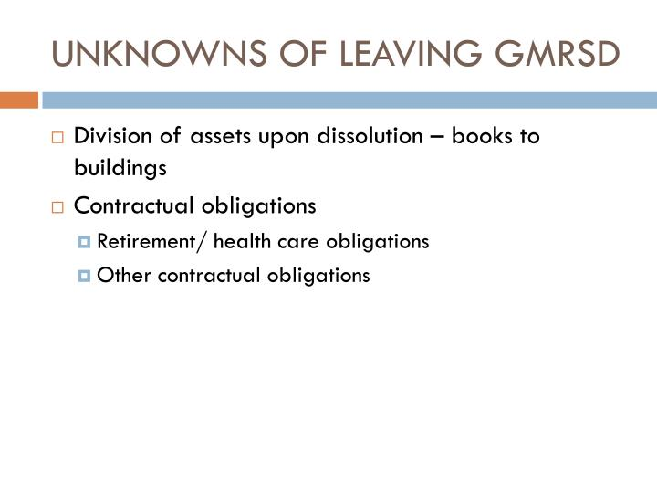 UNKNOWNS OF LEAVING GMRSD