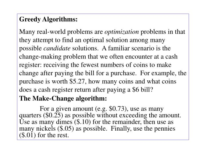 Greedy Algorithms: