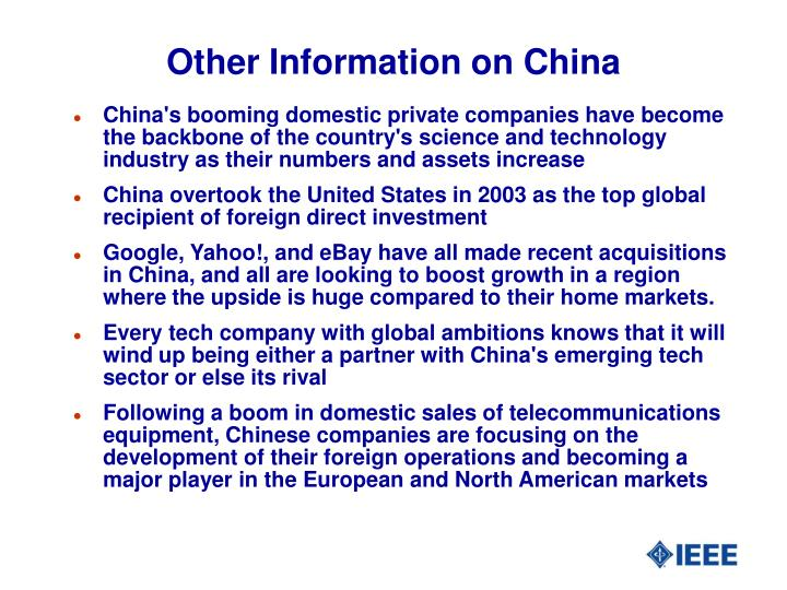 Other Information on China