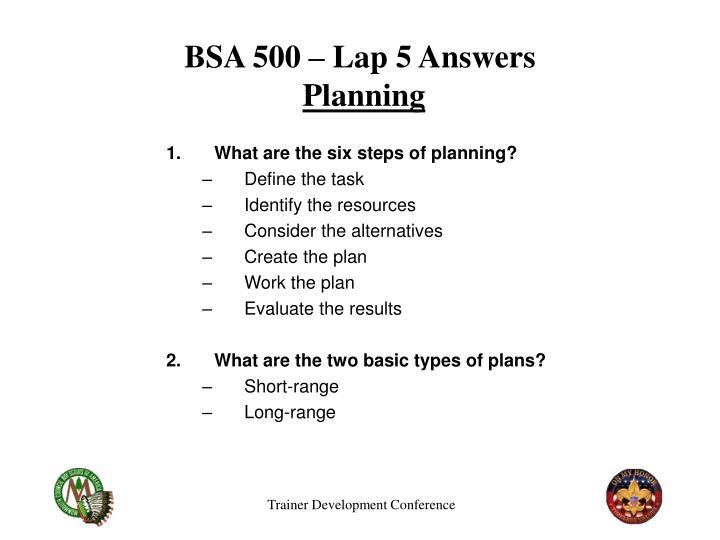 BSA 500 – Lap 5 Answers