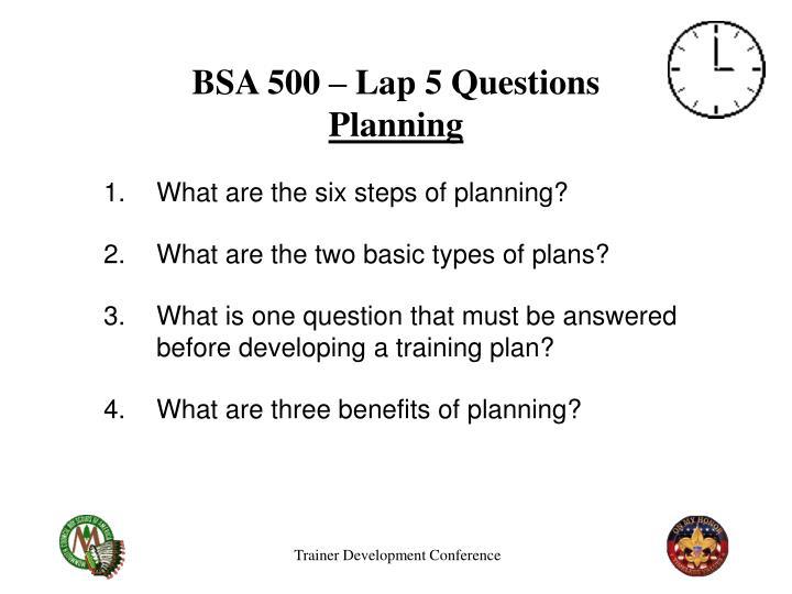 BSA 500 – Lap 5 Questions