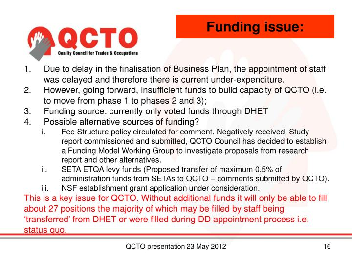 Funding issue:
