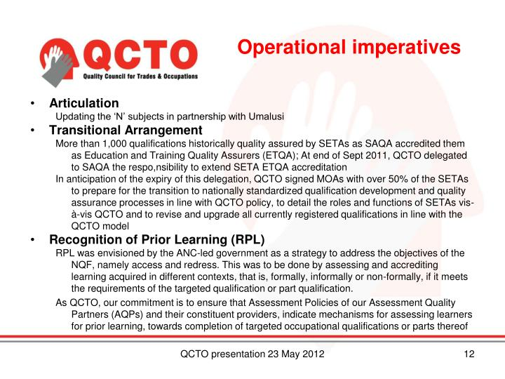 Operational imperatives