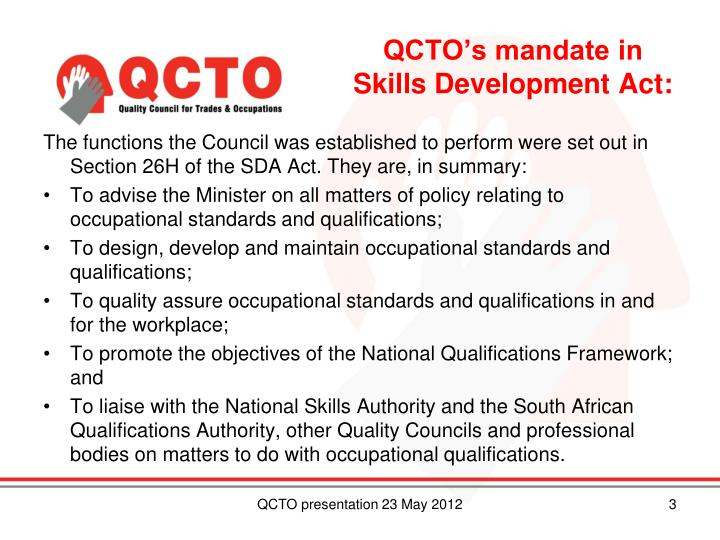 QCTO's mandate in