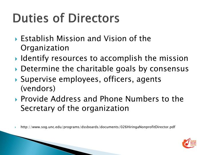 Duties of Directors