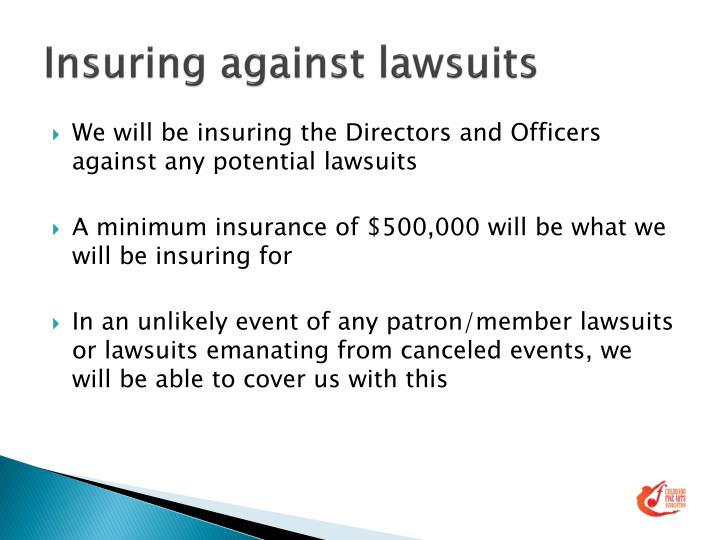 Insuring against lawsuits