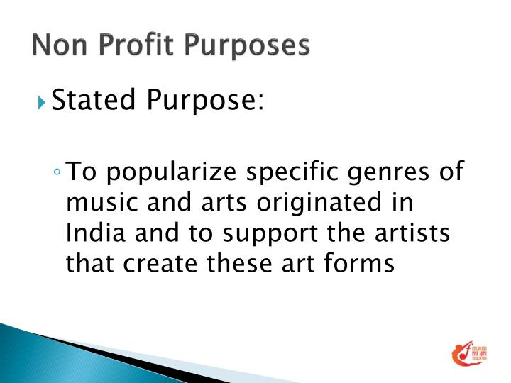 Non profit purposes