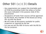 other 501 c 3 details